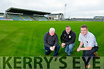 Vince Linnane, Head Groundsman, Patrick O'Sullivan, Chairman of the Kerry Board and Tim Murphy, Development Officer, at The New Pitch at Austin Stacks Park on Monday