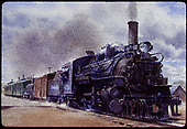 Water color painting of D&amp;RGW #478 K-28 with box car, tank car, RPO &amp; coach.<br /> D&amp;RGW