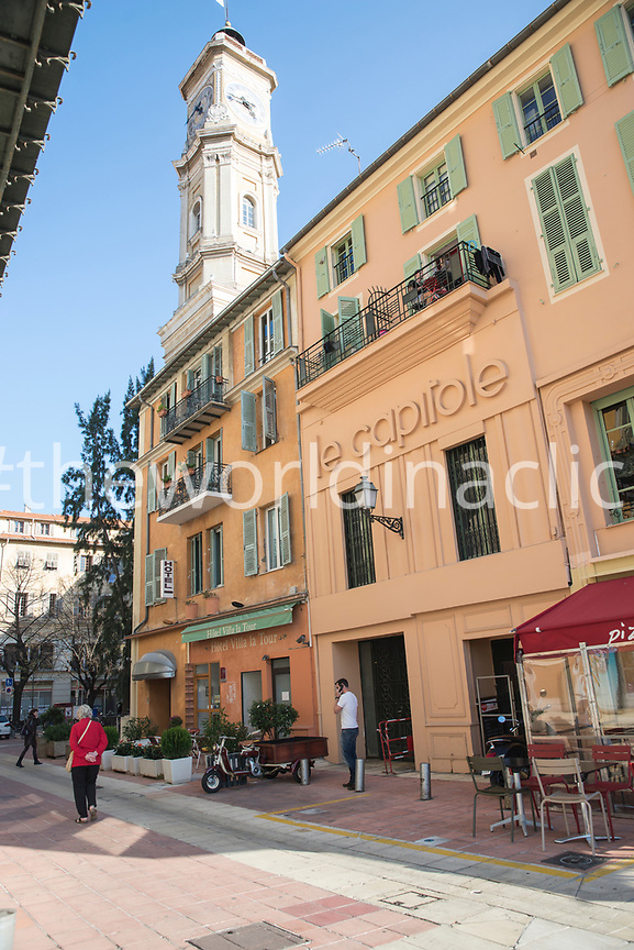 FRANCE, Nice, Cote d'Azur, a street view of a three story hotel, Le Capitole