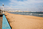 Sandy beach with view to historic walled fort of Melilla la Vieja, Melilla autonomous city state Spanish territory in north Africa, Spain