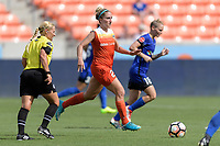 Houston, TX - Saturday May 27, 2017: Camille Levin brings the ball up the field during a regular season National Women's Soccer League (NWSL) match between the Houston Dash and the Seattle Reign FC at BBVA Compass Stadium.