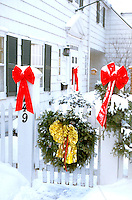 Residential house decorated with Christmas wreath. St Paul Minnesota USA