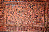 Fatehpur Sikri, Uttar Pradesh, India.  Picturesque Carving of a Garden Scene   on the Wall of the House of the Turkish Sultana.