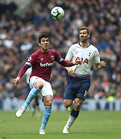 West Ham United's Fabian Balbuena and Tottenham Hotspur's Fernando Llorente<br /> <br /> Photographer Rob Newell/CameraSport<br /> <br /> The Premier League - Tottenham Hotspur v West Ham United - Saturday 27th April 2019 - White Hart Lane - London<br /> <br /> World Copyright © 2019 CameraSport. All rights reserved. 43 Linden Ave. Countesthorpe. Leicester. England. LE8 5PG - Tel: +44 (0) 116 277 4147 - admin@camerasport.com - www.camerasport.com
