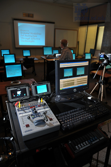 """Web streaming equipment for Access Newsletter story, """"From Manuscript to Microphone: Granting a Web-Streaming Wish.""""..Photo by Matt Cashore/University of Notre Dame"""