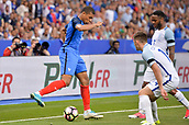June 13th 2017, Stade de France, Paris, France; International football friendly, France versus England;  KYLIAN MBAPPE (fra) takes on Raheem Sterling (eng)
