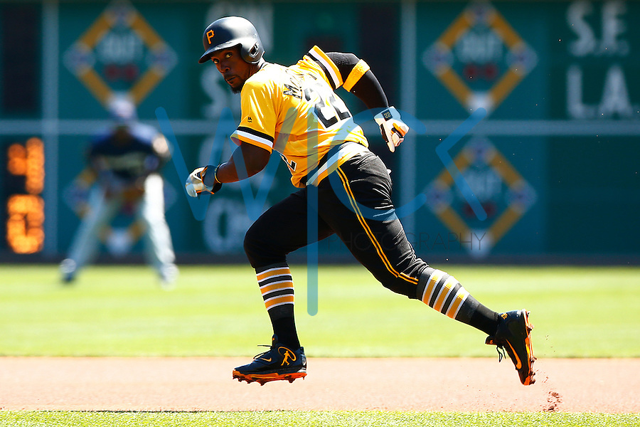 Andrew McCutchen #22 of the Pittsburgh Pirates runs to second base against the Milwaukee Brewers during the game at PNC Park in Pittsburgh, Pennsylvania on April 17, 2016. (Photo by Jared Wickerham / DKPS)