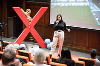 "Claire Krelitz '18 talks about ""Building Political Agency through Self Critique.""  <br /> Occidental College hosts TEDxOccidentalCollege on April 21, 2018 in Choi Auditorium of Johnson Hall. Students, faculty, alums and guest speakers delivered their TEDx Talk on the theme, Shifting Ecosystems of Power.<br /> (Photo by Marc Campos, Occidental College Photographer)"