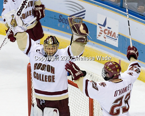 Cory Schneider (Boston College - Marblehead, MA) and Brian O'Hanley (Boston College - Quincy, MA) celebrate the win. The Boston College Eagles defeated the University of North Dakota Fighting Sioux 6-4 in their 2007 Frozen Four semi-final on Thursday, April 5, 2007, at the Scottrade Center in St. Louis, Missouri.