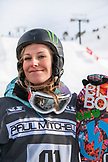 USA, California, Mammoth, Snowboarder and US Gold Medalist, Jamie Anderson smiles at the bottom of her run at Mammoth Ski Resort