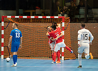 20191012 - HALLE: Benfica players are celebrating the goal at the UEFA Futsal Champions League Main Round match between FP Halle-Gooik (BEL) and SL Benfica (POR) on 12th October 2019 at De Bres Sportcomplex, Halle, Belgium. PHOTO SPORTPIX | SEVIL OKTEM