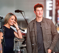 NEW YORK, NY-July 08: Dylan Dreyer, Shawn Mendes perform on NBC's Today Show Citi Concert Series at Rockefeller Center in New York. NY July 08, 2016. Credit:RW/MediaPunch
