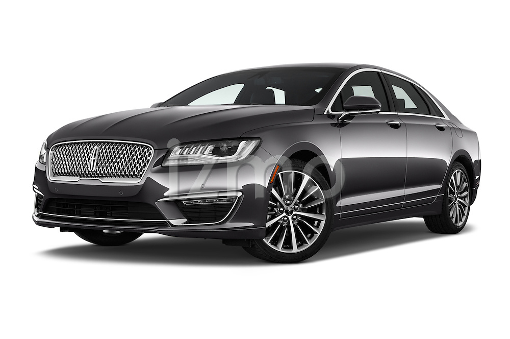 Stock pictures of low aggressive front three quarter view of 2018 Lincoln MKZ Select 4 Door Sedan Low Aggressive