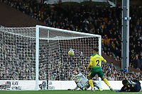 1st December 2019; Carrow Road, Norwich, Norfolk, England, English Premier League Football, Norwich versus Arsenal; Tim Krul of Norwich City makes a double save from a shot by Alexandre Lacazette of Arsenal - Strictly Editorial Use Only. No use with unauthorized audio, video, data, fixture lists, club/league logos or 'live' services. Online in-match use limited to 120 images, no video emulation. No use in betting, games or single club/league/player publications