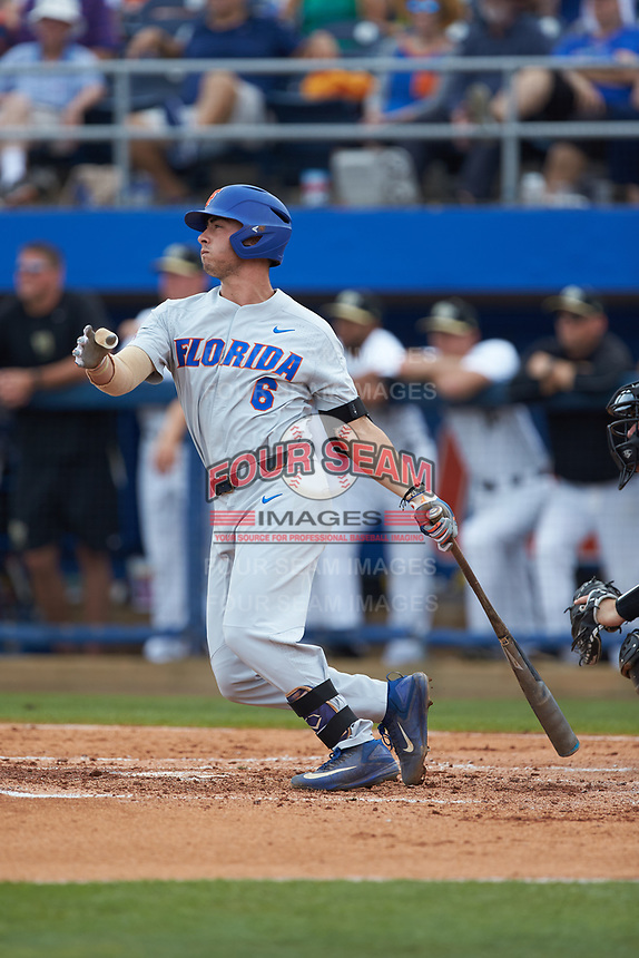 Jonathan India (6) of the Florida Gators follows through on his swing against the Wake Forest Demon Deacons in Game Two of the Gainesville Super Regional of the 2017 College World Series at Alfred McKethan Stadium at Perry Field on June 11, 2017 in Gainesville, Florida.  (Brian Westerholt/Four Seam Images)