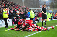 Lincoln City's Kellan Gordon celebrates scoring the opening goal<br /> <br /> Photographer Andrew Vaughan/CameraSport<br /> <br /> The EFL Sky Bet League Two - Lincoln City v Mansfield Town - Saturday 24th November 2018 - Sincil Bank - Lincoln<br /> <br /> World Copyright &copy; 2018 CameraSport. All rights reserved. 43 Linden Ave. Countesthorpe. Leicester. England. LE8 5PG - Tel: +44 (0) 116 277 4147 - admin@camerasport.com - www.camerasport.com