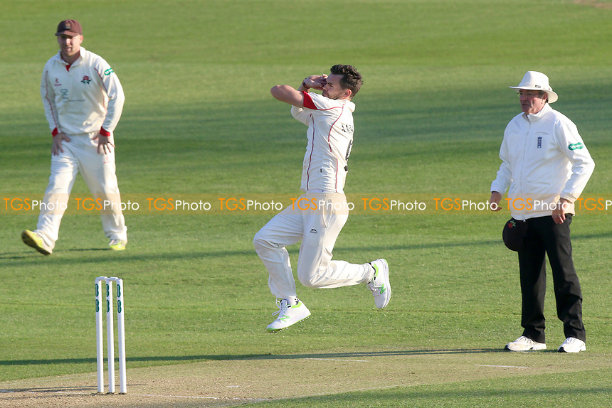Jimmy Anderson in bowling action for Lancashire during Essex CCC vs Lancashire CCC, Specsavers County Championship Division 1 Cricket at The Cloudfm County Ground on 7th April 2017