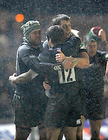 Leicester, England. Tigers Jordan Crane, Louis Deacon,  Anthony Allen celebrate there win at the end of the Heineken Cup match between Leicester Tigers and Toulouse  at Welford Road on January  20. 2013 in Leicester, England..