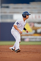 Tampa Yankees catcher Sharif Othman (62) leads off second base during a game against the Fort Myers Miracle on April 12, 2017 at George M. Steinbrenner Field in Tampa, Florida.  Tampa defeated Fort Myers 3-2.  (Mike Janes/Four Seam Images)