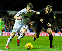 Leeds United's Jack Clarke holds off the challenge from Hull City's Jarrod Bowen<br /> <br /> Photographer Alex Dodd/CameraSport<br /> <br /> The EFL Sky Bet Championship - Leeds United v Hull City - Saturday 29th December 2018 - Elland Road - Leeds<br /> <br /> World Copyright © 2018 CameraSport. All rights reserved. 43 Linden Ave. Countesthorpe. Leicester. England. LE8 5PG - Tel: +44 (0) 116 277 4147 - admin@camerasport.com - www.camerasport.com