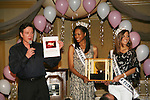 "Guiding Light's Frank Dicopoulos along with Elliot Griffin  (Miss Pennsylvania Teen USA 2008) and Micah Michael (Miss West Virginia Teen USA 2008) are on stage and show the PINKie Promise Ring which is an auction item at the Young Women's Breast Cancer Foundation event - Reach to Recovery - ""Spring into Shape!"" Luncheon and Fashion Show on April 6, 2008 at Embassy Suites, Coraopolis, Pennsylvania. The event also included a Chinese Auction and an autograph session with the Guiding Light actors. (Photo by Sue Coflin/Max Photos)"