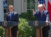 United States President Donald J. Trump and President Andrzej Duda of the Republic of Poland, conduct a joint press conference in the Rose Garden of the White House in Washington, DC on Wednesday, June 12, 2019. <br /> Credit: Ron Sachs / CNP