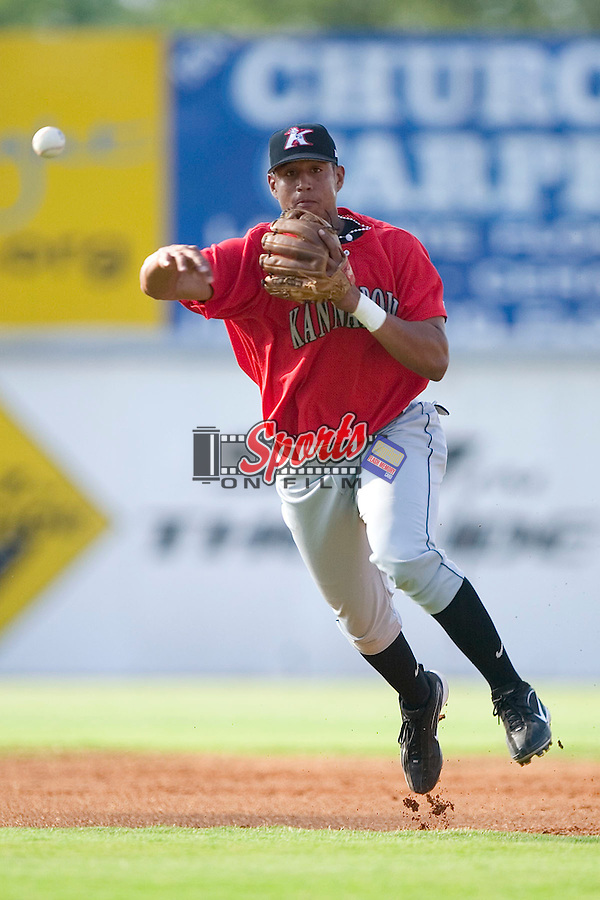 Kannapolis shortstop Javier Castillo makes a throw on the run versus Hickory at L.P. Frans Stadium in Hickory, NC, Thursday, June 29, 2006.