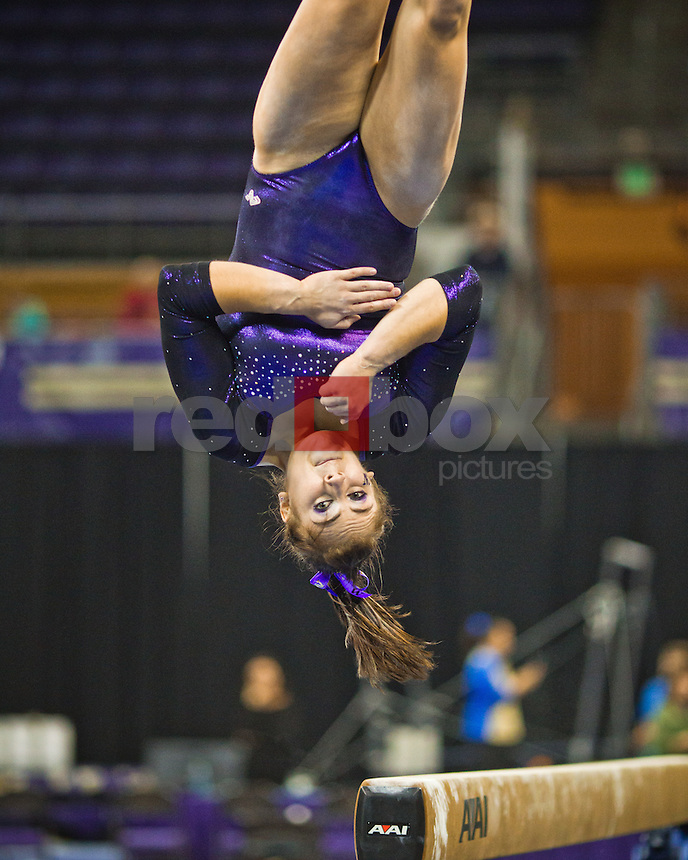 Aliza Vaccher..Washington Huskies gymnastics vs. the UCLA Bruins at Alaska Airlines Arena at Hec Edmundson Pavilion in Seattle on Friday, January 27, 2012. (Photo by Dan DeLong/Red Box Pictures)