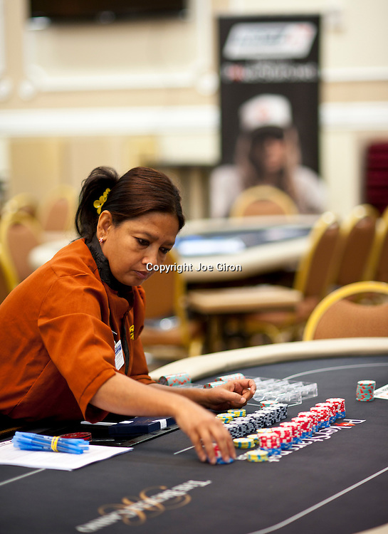 Dealers prepare for the start of Day 1B at today's NAPT Los Angeles Main Event.