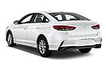 Car pictures of rear three quarter view of 2019 Hyundai Sonata SE 4 Door Sedan Angular Rear