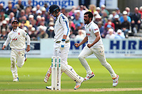 Mohammad Amir of Esse celebrates taking the wicket of Alex Lees during Yorkshire CCC vs Essex CCC, Specsavers County Championship Division 1 Cricket at Scarborough CC, North Marine Road on 7th August 2017