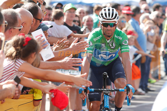 Green Jersey Alejandro Valverde (ESP) Movistar Team arrives at sign on before the start of Stage 9 of the La Vuelta 2018, running 200.8km from Talavera de la Reina to La Covatilla, Spain. 2nd September 2018.<br /> Picture: Unipublic/Photogomezsport | Cyclefile<br /> <br /> <br /> All photos usage must carry mandatory copyright credit (© Cyclefile | Unipublic/Photogomezsport)
