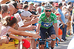 Green Jersey Alejandro Valverde (ESP) Movistar Team arrives at sign on before the start of Stage 9 of the La Vuelta 2018, running 200.8km from Talavera de la Reina to La Covatilla, Spain. 2nd September 2018.<br /> Picture: Unipublic/Photogomezsport | Cyclefile<br /> <br /> <br /> All photos usage must carry mandatory copyright credit (&copy; Cyclefile | Unipublic/Photogomezsport)