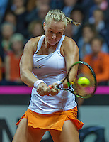 Arena Loire,  Trélazé,  France, 16 April, 2016, Semifinal FedCup, France-Netherlands, First match: Kiki Bertens vs Caroline Garcia, Kiki Bertens (NED)<br /> Photo: Henk Koster/Tennisimages