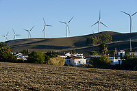 Spain, Andalusia, Cadiz, village La Zarzuela, wind farm in the mountains, Vestas wind turbines