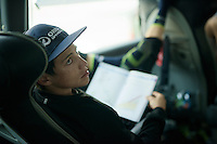 Johan Esteban Chaves (COL/Orica-GreenEDGE) during the pre-stage team meeting on the Orica-GreenEDGE teambus with the roadbook on his lap <br /> <br /> stage 19: Pinerolo(IT) - Risoul(FR) 162km<br /> 99th Giro d'Italia 2016