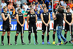 The Hague, Netherlands, June 03: Team of New Zealand line up prior to the match during the national anthem during the field hockey group match (Men - Group B) between South Africa and the Black Sticks of New Zealand on June 3, 2014 during the World Cup 2014 at GreenFields Stadium in The Hague, Netherlands. Final score 0:5 (0:3) (Photo by Dirk Markgraf / www.265-images.com) *** Local caption *** Andy Hayward #5 of New Zealand, Blair Hilton #9 of New Zealand, Stephen Jenness #27 of New Zealand, Marcus Child #13 of New Zealand