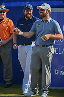 Shane Lowry (IRL) and Louis Oosthuizen (RSA) share a laugh before Round 3 of the Zurich Classic of New Orl, TPC Louisiana, Avondale, Louisiana, USA. 4/28/2018.<br /> Picture: Golffile | Ken Murray<br /> <br /> <br /> All photo usage must carry mandatory copyright credit (&copy; Golffile | Ken Murray)