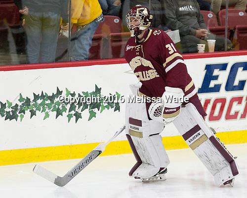 Joe Woll (BC - 31) - The Harvard University Crimson defeated the visiting Boston College Eagles 5-2 on Friday, November 18, 2016, at the Bright-Landry Hockey Center in Boston, Massachusetts.