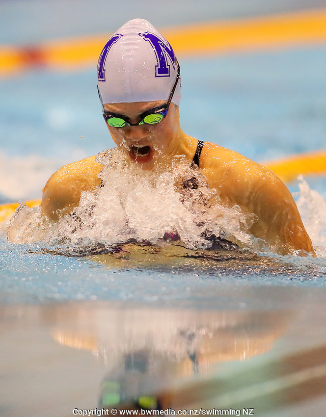 Brearna Crawford, 16yr 50m Breast. record. Swimming New Zealand Aon National Age Group Championships, Wellington Regional Aquatic Centre, Wellington, New Zealand, Tuesday 15 2019. Photo: Simon Watts/www.bwmedia.co.nz
