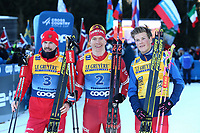 5th January 2020; Val Di Fiemme Ski Resort, Val Di Fiemme, Trento, Italy; International Ski Federation Audi FIS Cross Country Ski World Cup, Tour De Ski Val Di Fiemme; Winners of the race Sergey Ustiugov (RUS), Alexander Bolshunov (RUS), Johannes Hoesflot Klaebo (NOR)