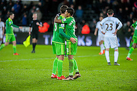 Patrick van Aanholt of Sunderland and Fabio Borini of Sunderland embrace at final whistle during the Barclays Premier League match between Swansea City and Sunderland played at the Liberty Stadium, Swansea  on  January the 13th 2016