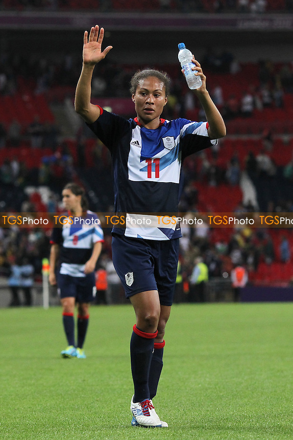 Rachel Yankey of GB celebrates at the final whistle - Great Britain Women vs Brazil Women - Womens Olympic Football Tournament London 2012 Group E at Wembley Stadium, London - 31/07/12 - MANDATORY CREDIT: Gavin Ellis/SHEKICKS/TGSPHOTO - Self billing applies where appropriate - 0845 094 6026 - contact@tgsphoto.co.uk - NO UNPAID USE.