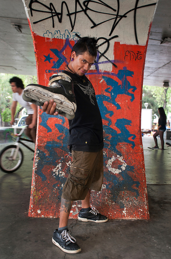 Jorge Kameishi Matsoo Noriega (23 years old). Portraits of Adolescents San Cosme skate park, in Mexico City. Release #27