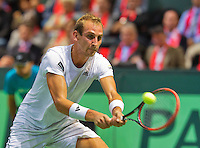 Switserland, Genève, September 18, 2015, Tennis,   Davis Cup, Switserland-Netherlands, Thiemo de Bakker (NED)<br /> Photo: Tennisimages/Henk Koster