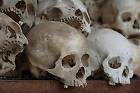 Cambodia - 2007 File Photo -<br /> <br /> Skulls, Killing fields, Choeung Ek. memorial site. <br /> <br /> Killing fields were a number of sites in where large numbers of people were killed and buried by the Communist regime Khmer Rouge, which had ruled the country since 1975. The massacres ended in 1979, when Communist Vietnam invaded the country, which at that time was officially called Democratic Kampuchea, and toppled the Khmer Rouge regime. Estimates of the number of dead range from 1.7 to 2.3 million out of a population of around 7 million.<br /> <br /> <br /> photo : James Wong-  Images Distribution