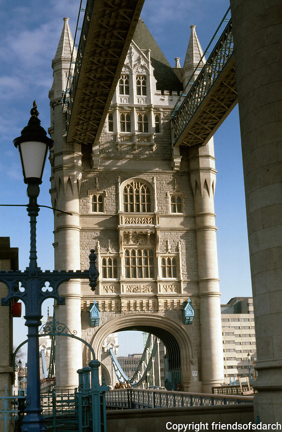 London:  Tower Bridge--North Tower from south.  Photo 2005.