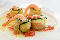 Tapas - Gefüllte Zucchini mit Garnelen,  Provinz Murcia, Spanien, Europa
