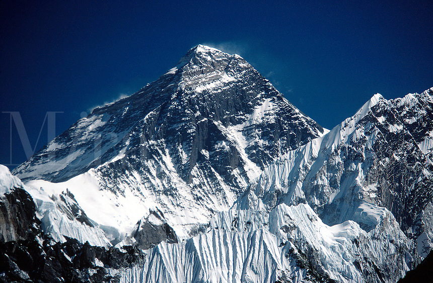 The south-west face of Everest. Telephoto shot from Gokyo Ri, Nepal Himalaya