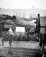 City Point, view in 1864.  Mathew Brady Collection.  (Army)<br /> Exact Date Shot Unknown<br /> NARA FILE #:  111-B-296<br /> WAR &amp; CONFLICT BOOK #:  201